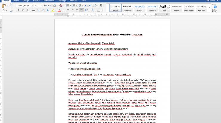 Contoh Pidato Perpisahan Kelas 6 di Masa Pandemi